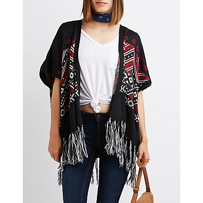 Chevron Fringed Poncho Cardigan