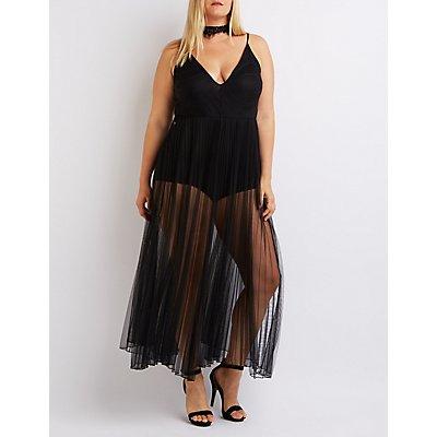 Plus Size Mesh Pleated Maxi Dress