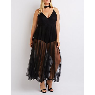 Plus Size Mesh Pleated Maxi Dress