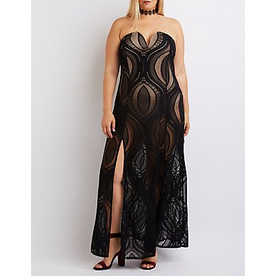 Plus Size Lace Strapless Maxi Gown