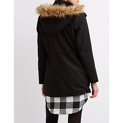 Wool Faux Fur-Trim Anorak Jacket