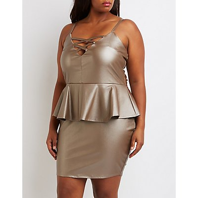 Plus Size Faux Leather Lattice Peplum Dress