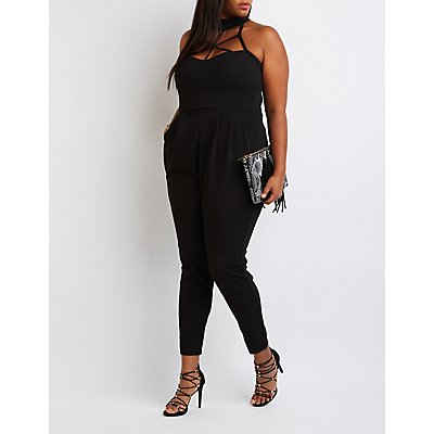Plus Size Caged Mock Neck Jumpsuit