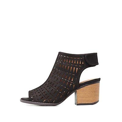 Qupid Laser Cut Slingback Sandals