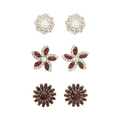 Gem & Rhinestone Flower Earrings - 3 Pack