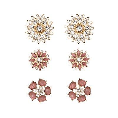 Faceted Stone & Rhinestone Flower Earrings - 3 Pack
