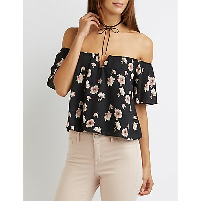 Floral Off-The-Shoulder Notched Crop Top