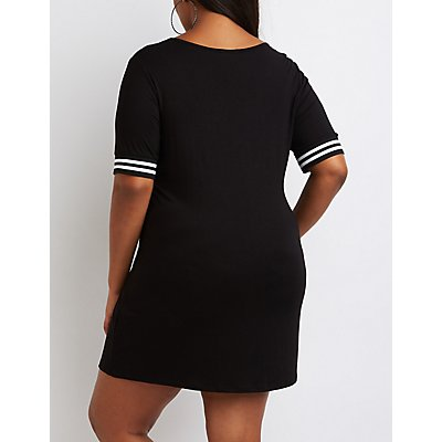 Plus Size Formation Graphic T-Shirt Dress