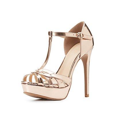 Metallic T-Strap Platform Heels
