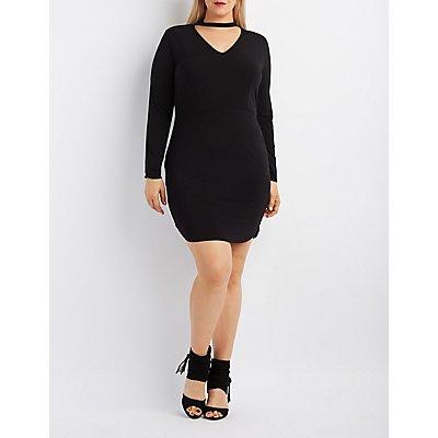 Plus Size Cut-Out Mock Neck Bodycon Dress