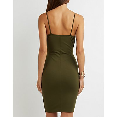 Strappy Notched Bodycon Dress