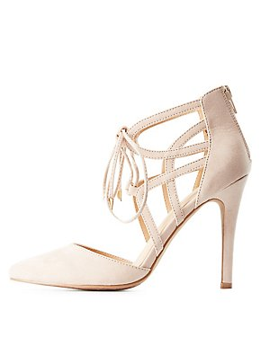 Caged D'Orsay Lace-Up Heels