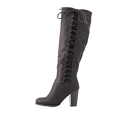 Bamboo Lace-Up Side Knee-High Boots