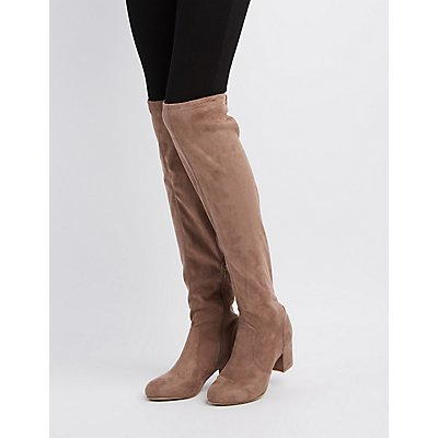 Bamboo Over-The-Knee Block Heel Boots