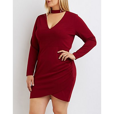 Plus Size Cut-Out Mock Neck Bodycon Dress