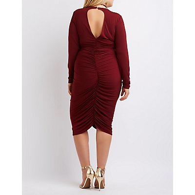 Plus Size Open Back Ruched Dress