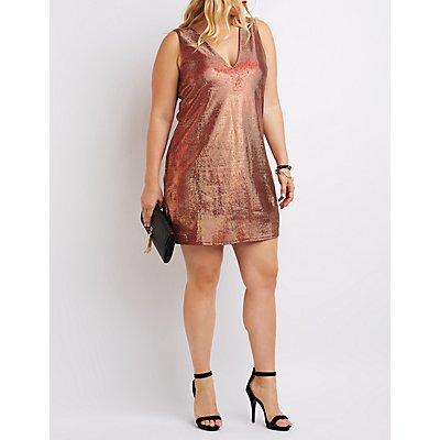 Plus Size Metallic Plunging Bodycon Dress