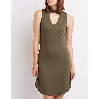 Mock Neck Cut-Out Dress
