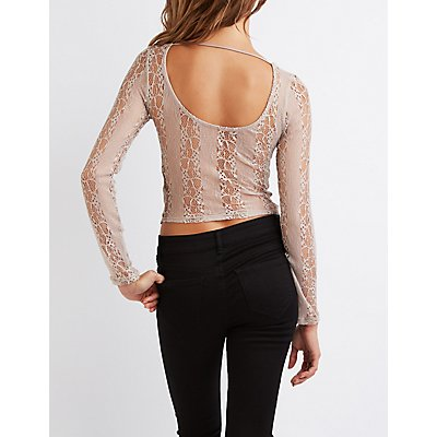 Lace Knotted Crop Top