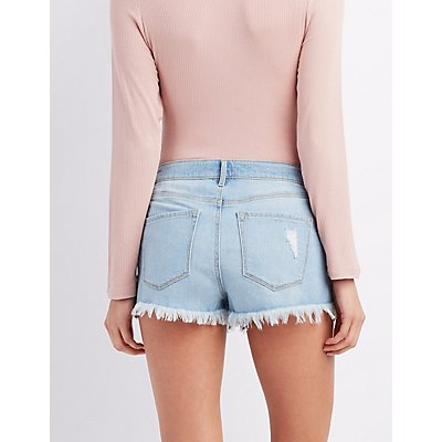 Refuge Hi-Rise Cheeky Cut-Off Denim Shorts