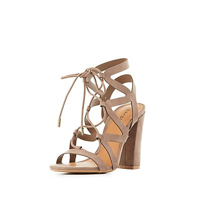 Bamboo Caged Lace-Up Sandals