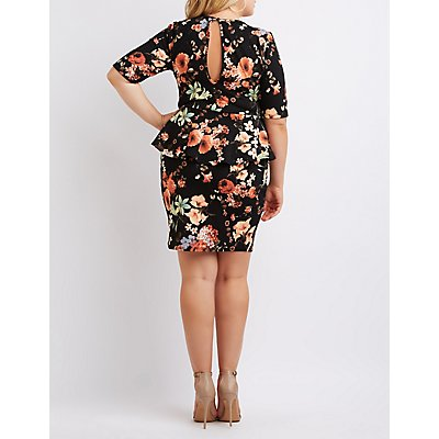 Plus Size Floral Caged Peplum Bodycon Dress