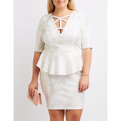 Plus Size Foil Knit Caged Peplum Dress