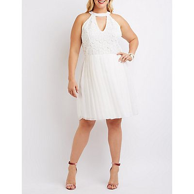 Plus Size Crochet Bodice Pleated Dress