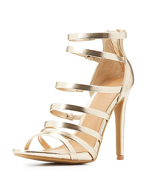Strappy Metallic Dress Sandals | Charlotte Russe
