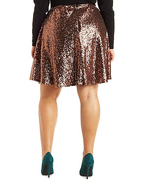 Plus Size Sequin Skater Skirt | Charlotte Russe