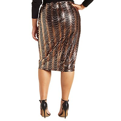 Plus Size Scalloped Sequin Pencil Skirt | Charlotte Russe