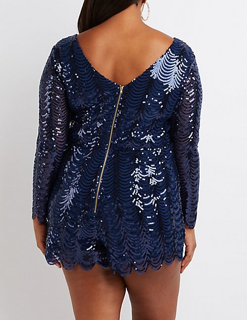 Plus Size Scalloped Sequin Romper | Charlotte Russe