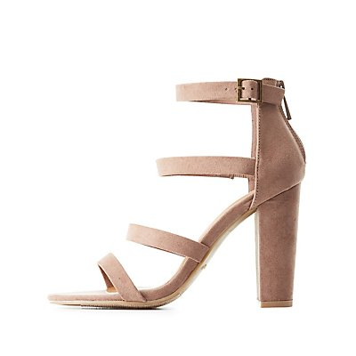 Bamboo Strappy Block Heel Dress Sandals
