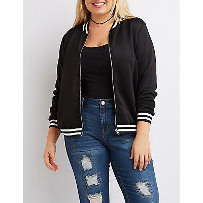 Plus Size Varsity Stripe Bomber Jacket