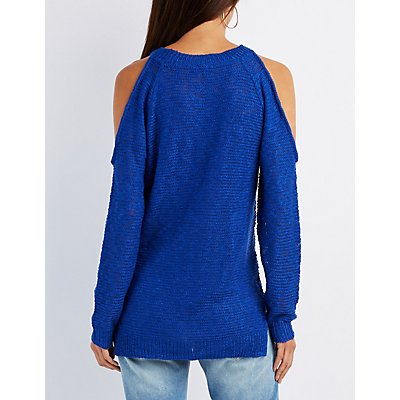 Slub Knit Cold Shoulder Sweater