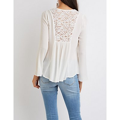 Strappy Lace-Back Blouse