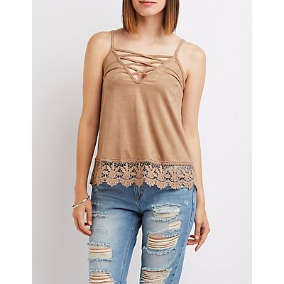 Faux Suede Crochet-Hem Lattice Top