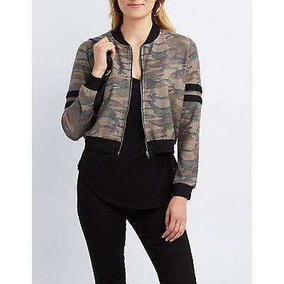 Camo Varsity Stripe Bomber Jacket
