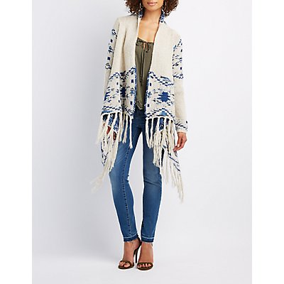 Patterned Cascade Fringe Cardigan
