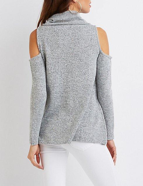 Cowl Neck Cold Shoulder Sweater | Charlotte Russe