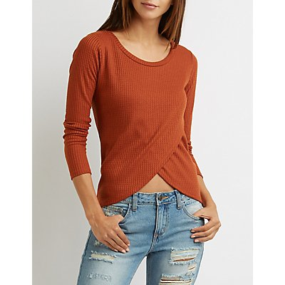 Waffle Knit Wrap Top