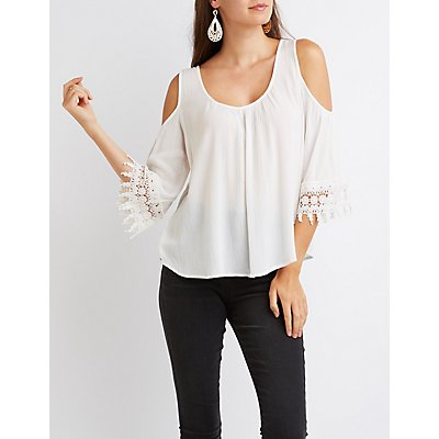 Crochet-Sleeve Cold Shoulder Top
