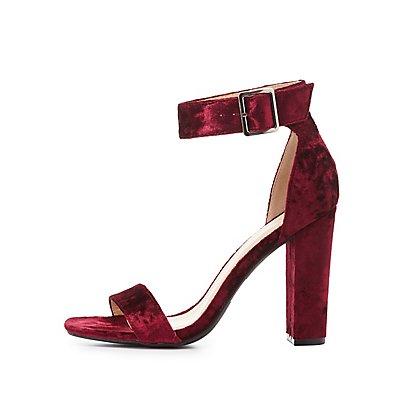 Velvet Two-Piece Dress Sandals