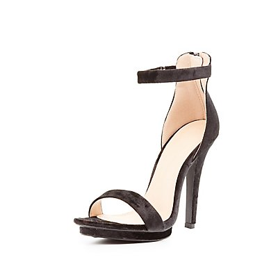 Velvet Two-Piece Platform Dress Sandals