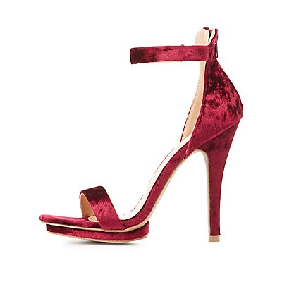 Velvet Two-Piece Dress Sandals