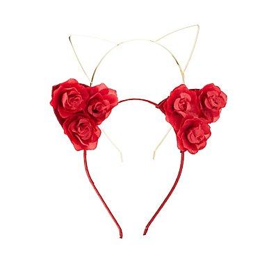 Floral & Metal Cat Ear Headbands -  2 Pack
