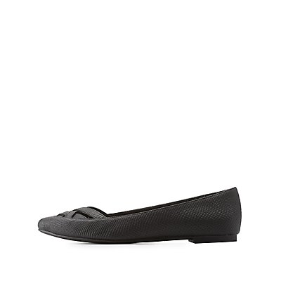 Qupid Strappy Cut-Out Pointed Toe Flats