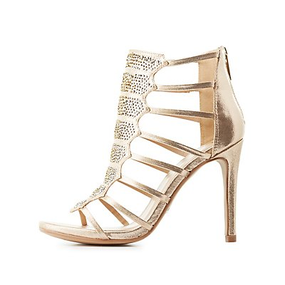 Embellished Caged Dress Sandals