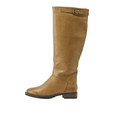 Zipper-Trim Riding Boots