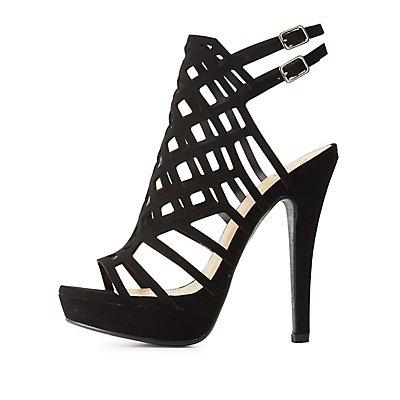 Laser Cut Platform Dress Sandals